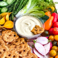 pretzels and vegetables with queso dip